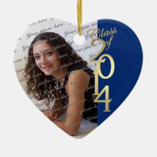 Blue Graduation Class of 2014 Ceramic Heart Ornament