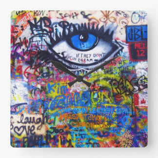 Blue graffiti evil eye clock