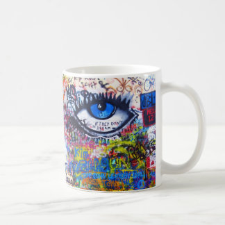 Blue graffiti evil eye coffee mug