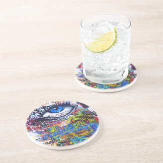 Blue graffiti evil eye drink coasters