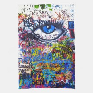 Blue graffiti evil eye kitchen towel