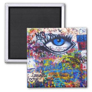 Blue graffiti evil eye magnet