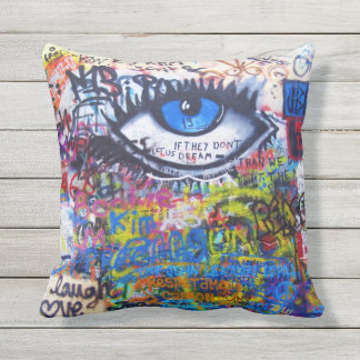 Blue graffiti evil eye outdoor pillow