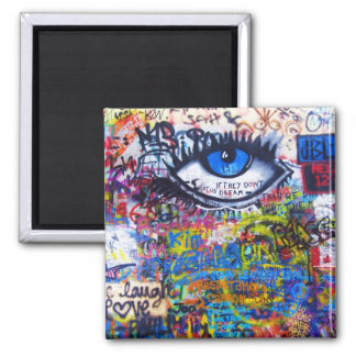 Blue graffiti evil eye square magnet