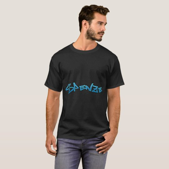 Blue Graffiti Spenze Logo Black Men's T-Shirt