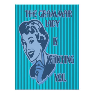 Blue Grammar Lady Watching Posters