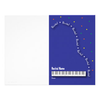 Blue Grand Piano Recital Blank Letterhead