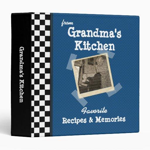 "Blue Grandmas Kitchen 1.5"" Custom Photo Recipe Binder"