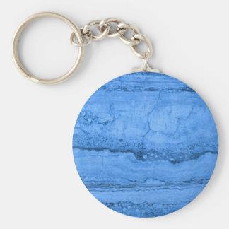 Blue granite basic round button keychain