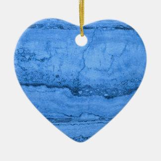 Blue granite ceramic heart ornament