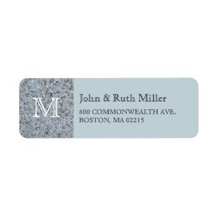Blue Granite Monogram Return Address Labels