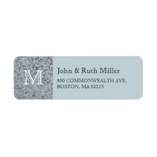 Blue Granite Monogram Return Address Labels