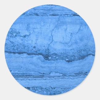 Blue granite round sticker