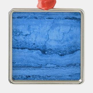 Blue granite Silver-Colored square ornament