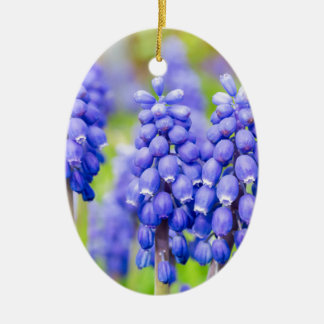 Blue grape hyacinths ceramic oval ornament