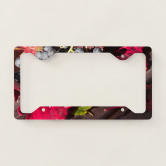 Blue Grapes and Red Vine Leaves License Plate Frame