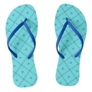 Blue Graphic Cute Design Flip Flops