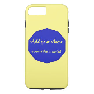 Blue graphic on color background add name & date iPhone 7 plus case