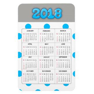 Blue Gray  2018 Calendar Refrigerator Magnet