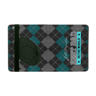 Blue, Gray and Black Best Dad Argyle Cover For iPad