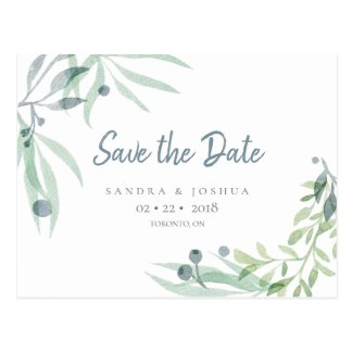 Blue Gray and Botanical Save the Date Postcard