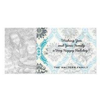 blue gray and cream elegant damask card