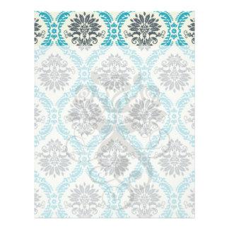 blue gray and cream elegant damask personalized letterhead