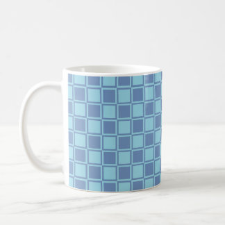 Blue/Gray and Pastel Blue Outlined Squares Coffee Mug