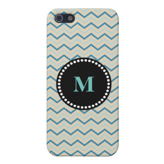 Blue Gray and White Chevron Monogram Tough iPhone 5/5S Cases