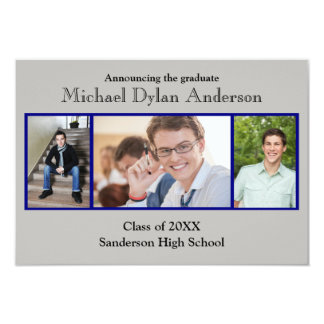 Blue/Gray Background - 3x5 Graduation Party Card