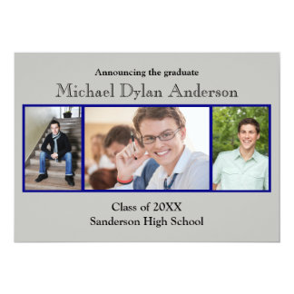 Blue/Gray Background - Graduation Party Card