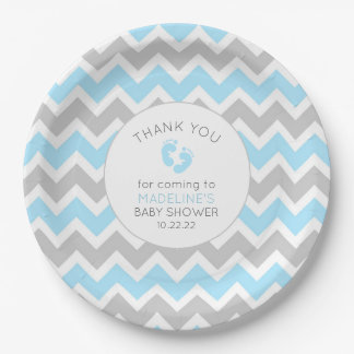 Blue Gray Boy baby shower table decor, paper plate