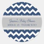 Blue Gray Chevron Baby Shower Favor Stickers
