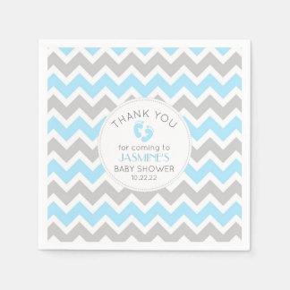 Blue Gray Chevron Baby Shower table decor, Paper Napkins