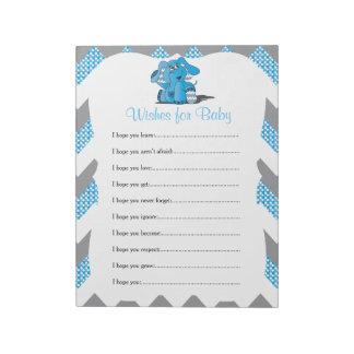 Blue & Gray Chevron Elephant Baby Shower Wishes 2 Notepad
