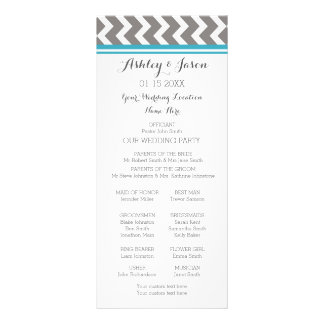 Blue Gray Chevron Wedding Program Personalized Rack Card