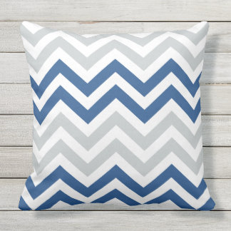 Blue Gray Chevron Zigzag Pattern Outdoor Pillow