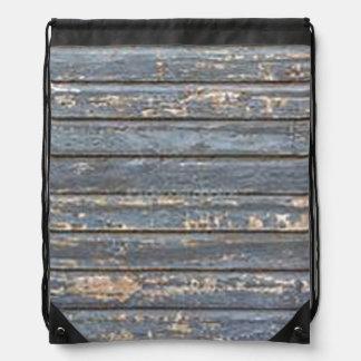 Blue Gray Clapboard Drawstring Bag