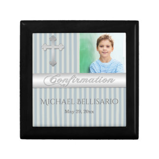 Blue, Gray Confirmation Keepsake Jewelry Box