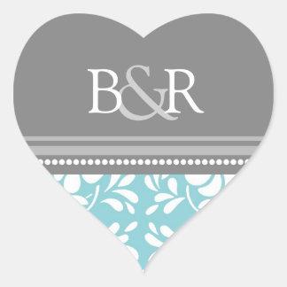 Blue Gray Damask Monogram Envelope Seal Heart Sticker