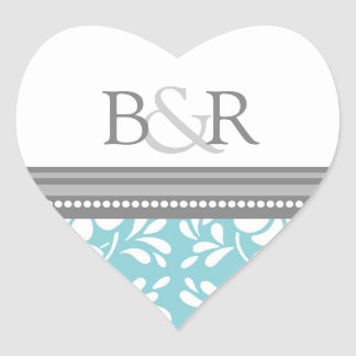 Blue Gray Damask Monogram Envelope Seal Sticker