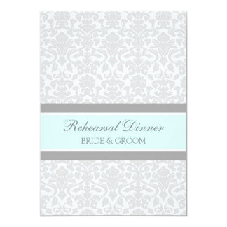 Blue Gray Damask Rehearsal Dinner Party Card