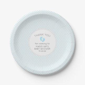 Blue Gray Dot boy baby shower table decor plate