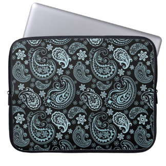 Blue-Gray Elegant Retro Paisley Pattern Design Laptop Sleeve
