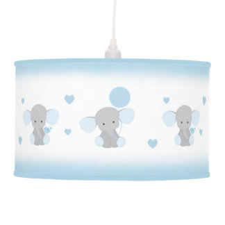 Blue Gray Elephant Nursery Baby Boy Safari Animal Pendant Lamp