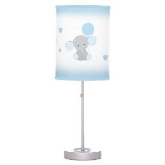 Blue Gray Elephant Nursery Baby Boy Safari Animal Table Lamp