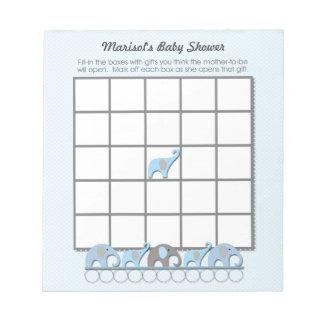 Blue Gray Elephants Baby Shower Bingo Game pad