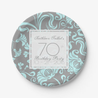 Blue Gray Floral 70th Birthday Party Paper Plate