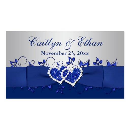 Blue, Gray Floral, Hearts Wedding Favor Tag Business Card Templates