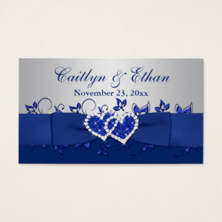 Blue, Gray Floral, Hearts Wedding Favor Tag Business Card